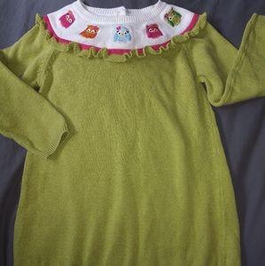 Girls Gymboree green owl sweater dress sz 3T